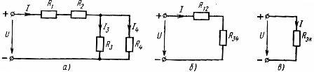 Схема смешанного соединения линейных элементов (а) и ее эквивалентные схемы (б, в)