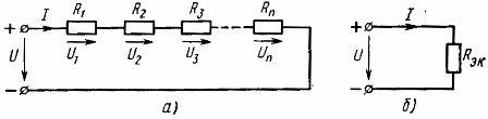 Схема последовательного соединения линейных элементов (а) и ее эквивалентная схема (б)