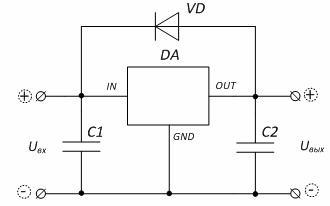 Типовая схема включения интегрального стабилизатора напряжения