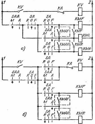 Схемы ручного и автоматического реверсивного управления приводом с применением избирателя