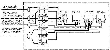 Монтажная схема панели релейной защиты