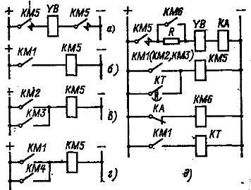 Узлы схем включения электромагнитного тормоза постоянного тока.