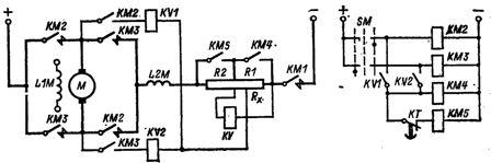 Узел схемы управлении торможением противовключением двигателя постоянного тока с контролем скорости.