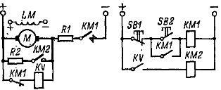Схема управления динамическим торможением двигателя постоянного тока с контролем скорости.