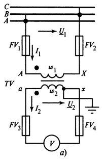 Схема включения измерительного трансформатора напряжения