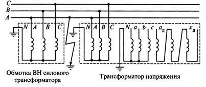 Схема включения трехфазного трехстержневого трансформатора напряжения в системе с заземленной нейтралью