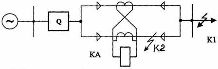 Схема поперечной защиты параллельных линий