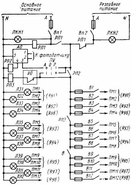 Принципиальная схема цепей управления освещением до 12 объектов при размещении аппаратуры управления на подстанциях