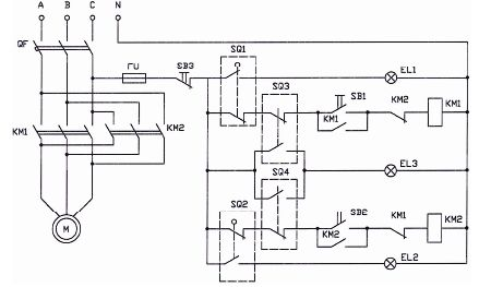 Схема исполнительного механизма с трехфазным электродвигателем