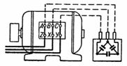блок конденсаторов, соединенных в треугольник и подсоединенных к зажимам трехфазного двигателя