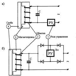 Принципиальная электрическая схема индуктивных датчиков на переменном (а) и выпрямленном (б) токе