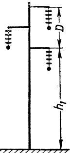 Высота опоры с треугольным расположением проводов