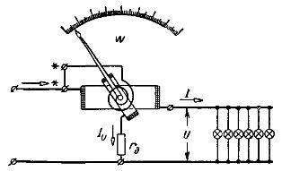 Схема устройства и соединений ваттметра