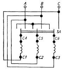 Схема включения трехфазного электродвигателя в есть при помощи переключателя фаз со звезды на треугольник