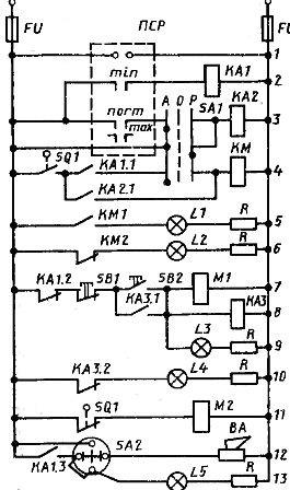 Электрическая схема регулирования температуры рабочего пространства камерной электрической печи с защитной атмосферой
