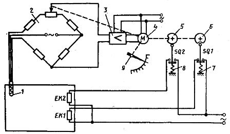 Схема двухпозициоииого электрического регулятора температуры