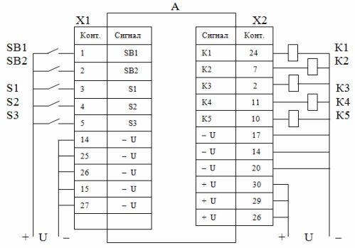 Пример полной схемы подключения внешних устройств к контроллеру