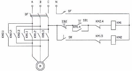 Схема торможения двигателя противовключением
