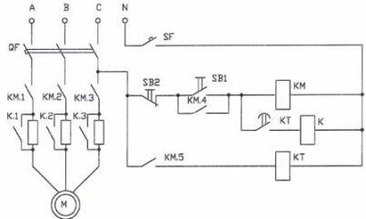 Схема пуска двигателя с ограничением пускового тока