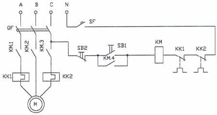 Схема пуска трехфазного асинхронного двигателя с помощью магнитного пускателя