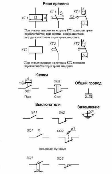 Условные обозначения в электрических схемах для компас