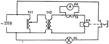 Принципиальная схема установки для проверки и настройки тепловых реле