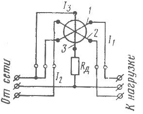 Схема включения фазометра электромагнитной системы