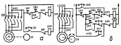 Схемы торможения асинхронных двигателей противовключением