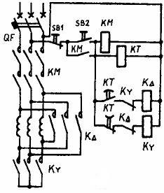 Схема управления в функции времени асинхронного двигателя переключением со Y на 916;