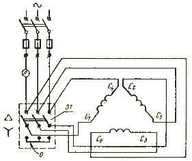 Схема пуска электрического двигателя с переключением обмоток статора со звезды на треугольник