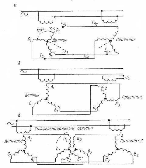 Схемы включения сельсинов