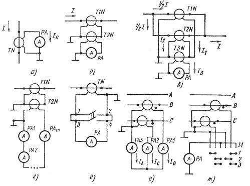 Схемы включения амперметров