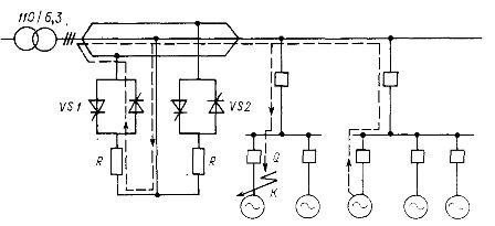 Схема электроснабжения с групповым статическим токоограничивающим устройством