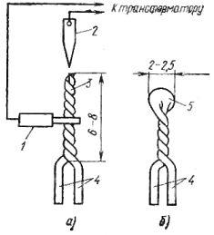 Изготовление термопары (а) и ее вид после сварки (б)