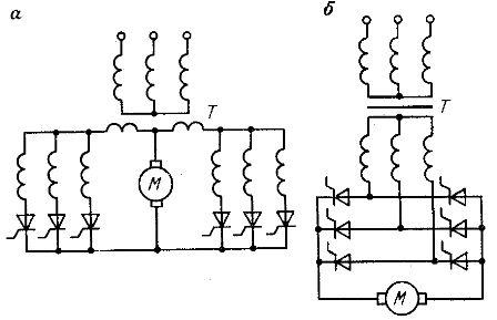 Силовые схемы трехфазных тиристорных преобразователей