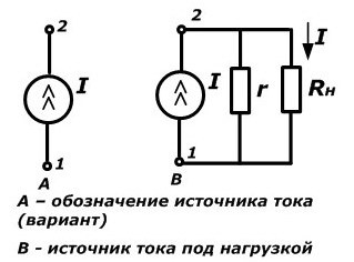 Схемы обозначения и вольт-амперная характеристика источника тока