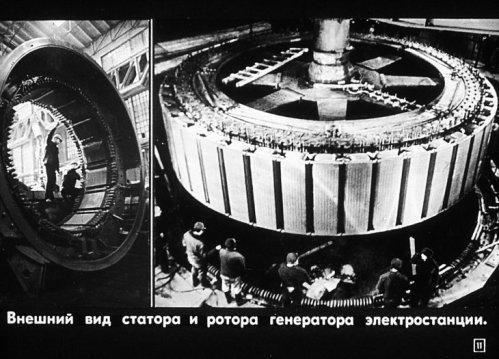 Внешний вид статора и ротора генератора электростанции