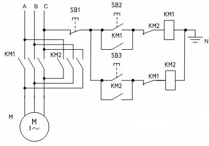 Схема управления реверсивным двигателем с помощью двух магнитных пускателей