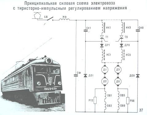 Принципиальная силовая схема электровоза с тиристорно-импульсным регулированием напряжения