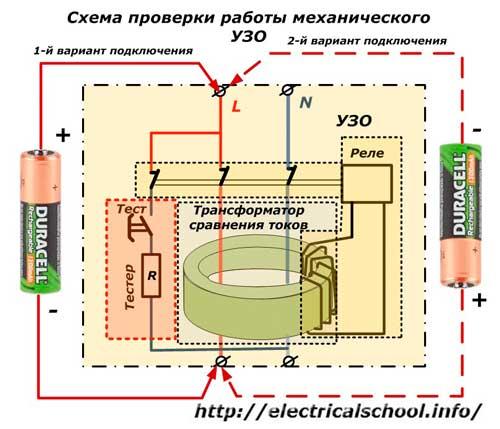 Схема проверки работы механического УЗО