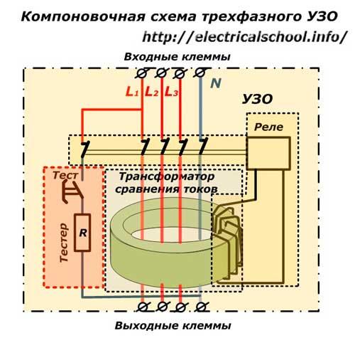 Компоновочная схема трехфазного УЗО