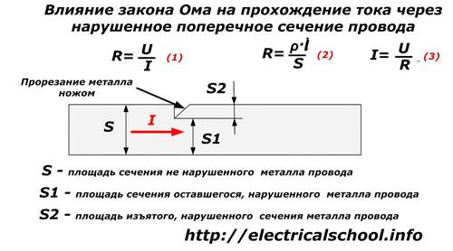 Влияние закона оМа на прохождение тока через нарушенное поперечное сечение провода