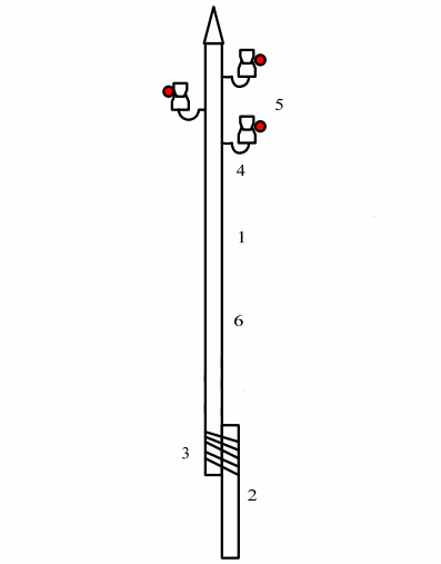 Деревянная одностоечная промежуточная опора ЛЭП 6 кВ