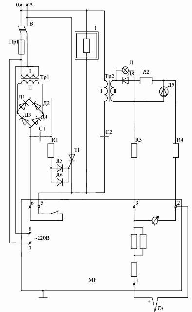 Схема электрическая принципиальная электропечи СШОД-1.1-1,6/12-М3-У4.2