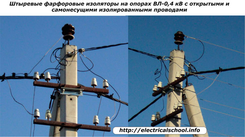 Штыревые фарфоровые изоляторы на опорах ВЛ-0.4 кВ