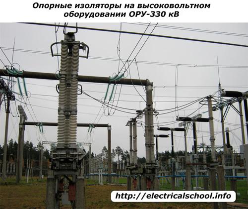 Опорные изоляторы на ОРУ 330 кВ