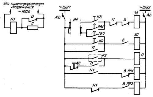 Схема одноступенчатого автоматического регулирования мощности конденсаторных батарей по напряжению