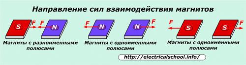 Напрвление сил взаимодействия магнитов