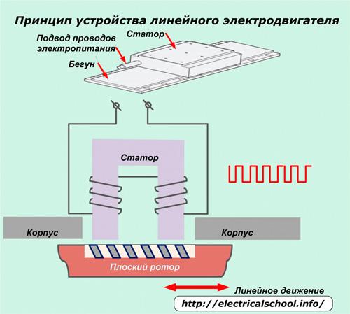 Принцип устройства линейного электродвигателя