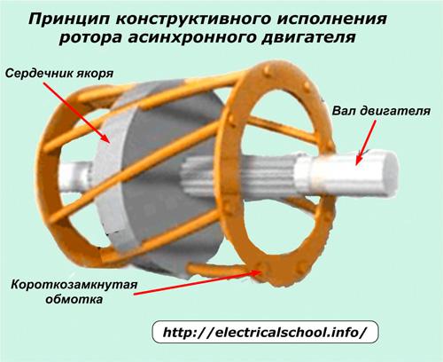 Принцип конструктивного исполнения ротора асинхронного двигателя